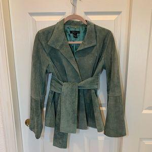 Karen Kane Belted Suede Jacket 100% Leather Green